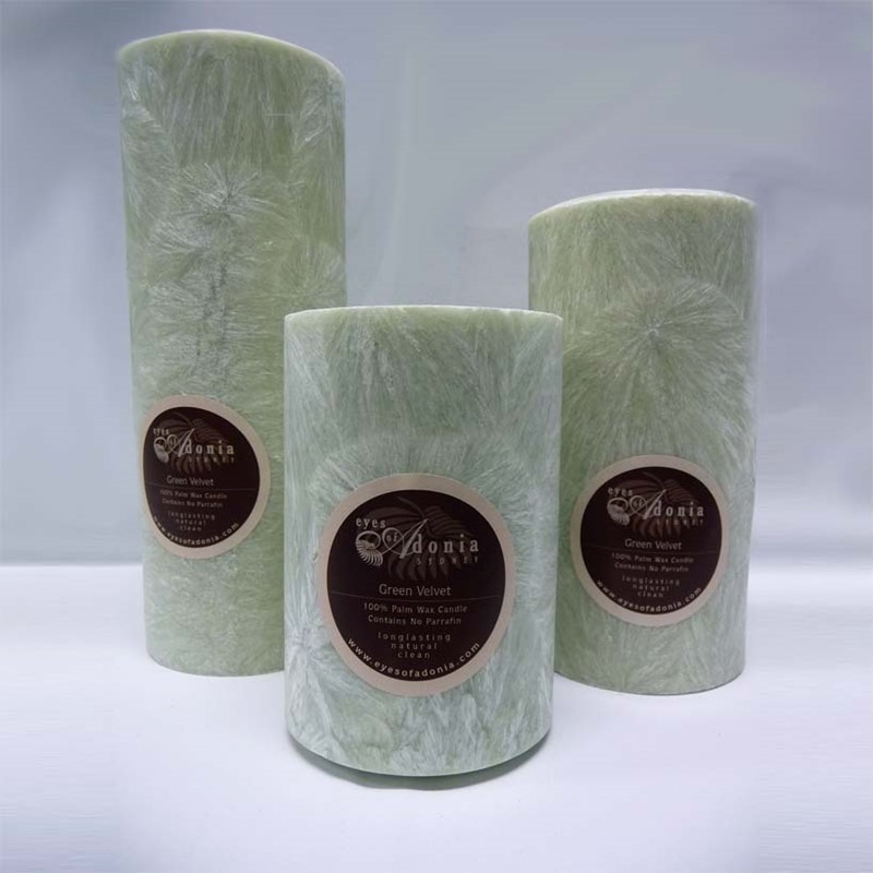Candles Pillar Green Velvet